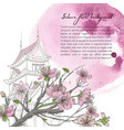 hand drawn spring background with blooming sakura vector image vector image