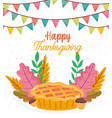 happy thanksgiving invitation poster cake acorns vector image vector image