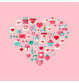 Heart shaped valentine day flat style icons with vector image vector image