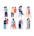 hugging people embracing person friends support vector image