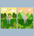 lovers leisure in park romantic day green vector image vector image