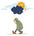 Man going in rain stock