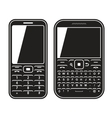 Modern mobile set phone with QWERTY keyboard Black vector image