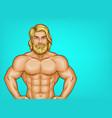 Pop art naked bearded athlete sportsman