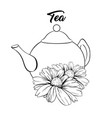 porcelain teapot and tea cup with mint tea and vector image