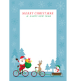 Santa Claus Reindeer Snowman Cycling Bicycles vector image vector image
