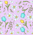 seamless pattern of daffodils tulips hand drawing vector image vector image