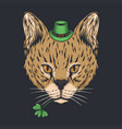 serval cat st patricks day vector image