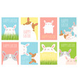 set of easter banner with cute rabbits vector image