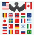 Set of Round Flags world