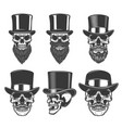 set of skulls in retro hats design element for vector image vector image