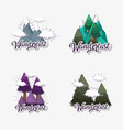 set pine trees with ice mountains and clouds vector image vector image