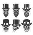 set skulls in retro hats design element vector image