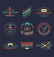 set vintage hipster barbershop logos vector image vector image