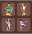 skateboard characters stylish skating kids vector image