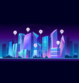 smart city and infographic icons at night vector image vector image