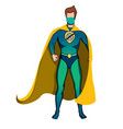 superhero in yellow cape and protective face mask vector image