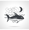 Swimming shark black icon vector image