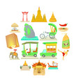 thailand travel icons set cartoon style vector image vector image