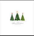 three green christmas tree on white background vector image vector image