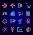 website development neon icons vector image vector image