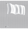 white textile waving empty flag on transparent vector image