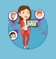 woman holding tablet with social network vector image vector image