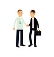 young bank manager and businessman shaking their vector image