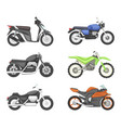different types of motorcycles set vector image