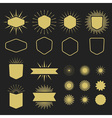 Golden silhouette design elements set vector image