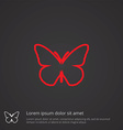 butterfly outline symbol red on dark background vector image