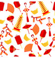 seamlees pattern of chinese red symbol vector image