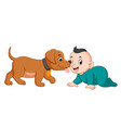 a baby playing with little dog vector image vector image