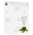 A christmas card template with a smiling girl vector image
