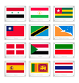 A Set of Countries Flags on Metal Texture Plates vector image vector image