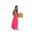 arab woman traditional clothes holding gift box vector image vector image
