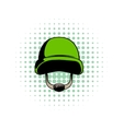 Army helmet comics icon vector image