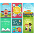 back to school card banner templates design vector image vector image