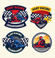 badge design set of kart racing vector image vector image