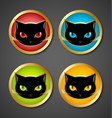 Black cat head icons vector image vector image