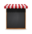 Black chalkboard frame with red awning vector image vector image