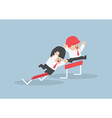 Businessman and his rival in hurdle race vector image vector image