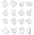 Cartoon collection of hand sign vector image vector image