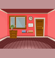 cartoon flat interior office room in red blossom vector image vector image