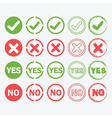 check mark crossed yes and no signs icons set vector image
