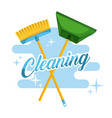 cleaning broom and dustpan color stroke background vector image