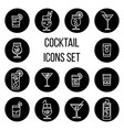 cocktail thin line icons set in black and vector image vector image