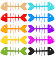 colorful cartoon fish skeleton set vector image