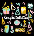 congratulations handwritten postcard vector image vector image