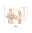 delivery shipping service courier holding parcel vector image vector image